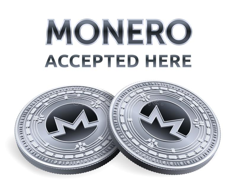 Monero. Accepted sign emblem. Crypto currency. Silver coins with Monero symbol isolated on white background. 3D isometric Physical royalty free illustration