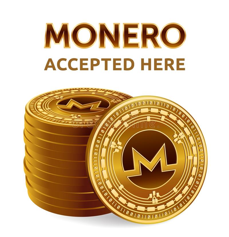 Monero. Accepted sign emblem. Crypto currency. Stack of golden coins with Monero symbol isolated on white background. 3D isometric royalty free illustration