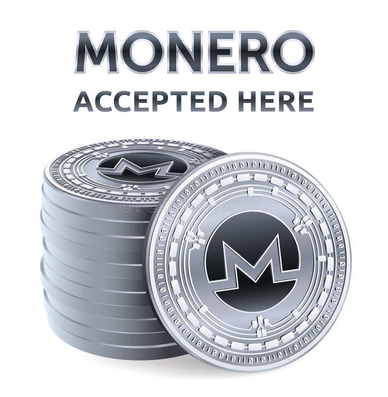 Monero Akceptujący szyldowy emblemat Crypto waluta Sterta srebne monety z Monero symbolem odizolowywającym na białym tle 3D isome ilustracji