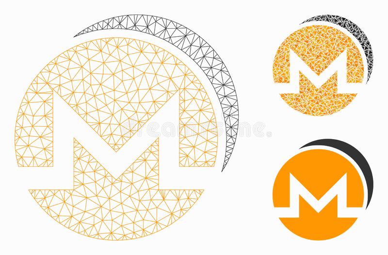 Monero Coins Vector Mesh Carcass Model and Triangle Mosaic Icon. Mesh Monero coins model with triangle mosaic icon. Wire carcass polygonal mesh of Monero coins royalty free illustration