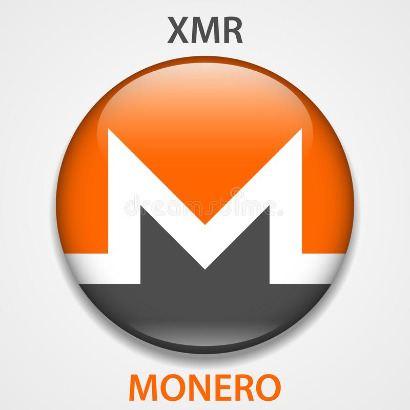 Monero cryptocurrency blockchain icon. Virtual electronic, internet money or cryptocoin symbol, logo.  vector illustration
