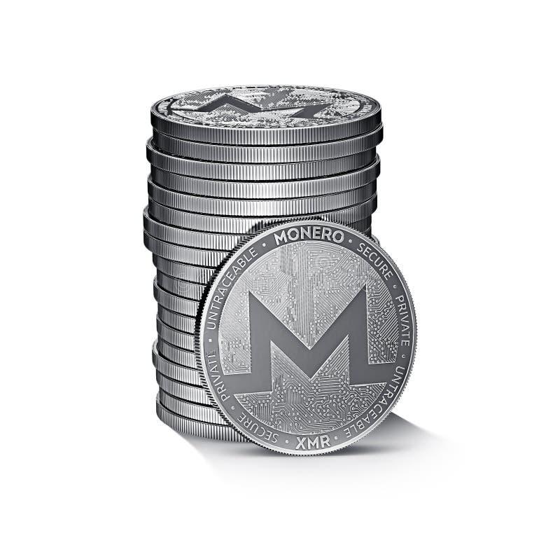 Monero-cryptocurrency körperlicher Konzept-Münzenstapel lokalisiert auf Weiß stock abbildung