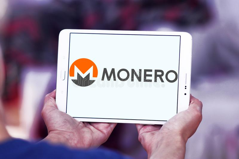 Monero cryptocurrency logo. Logo of Monero cryptocurrency on samsung tablet . Monero , XMR , is an open-source cryptocurrency that focuses on privacy stock images