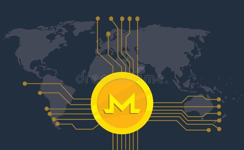 Monero-cryptocurrency Marken-Ikonenwahl mit goldener Münze und elektronischer Punkt mit Weltkartehintergrund lizenzfreie abbildung