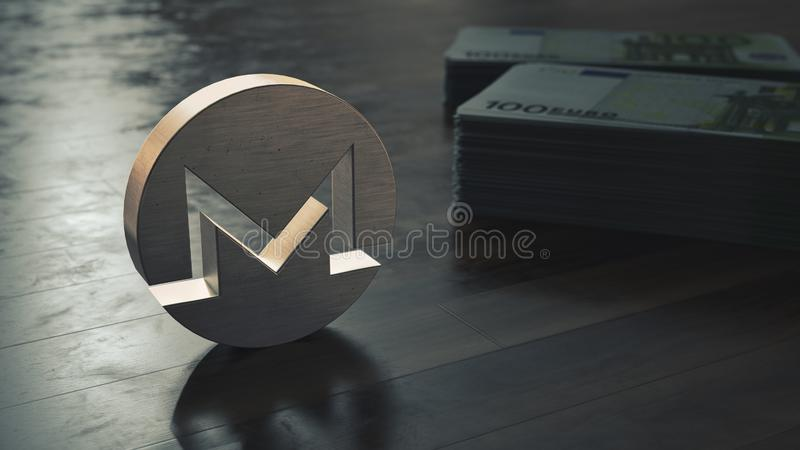 Monero-cryptocurrency metallisches Symbol Abbildung 3D stock abbildung
