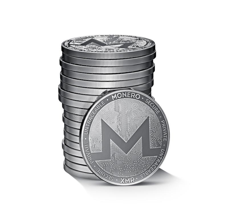 Monero cryptocurrency physical concept coin pile isolated on white. Background. 3D rendering stock illustration