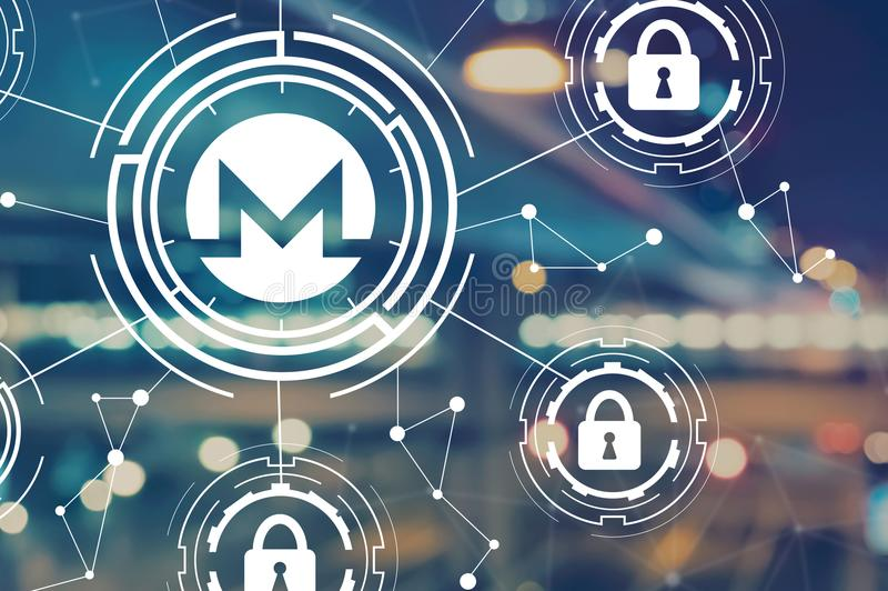 Monero cryptocurrency security theme with blurred city lights. Monero cryptocurrency security theme with blurred city abstract lights background royalty free illustration