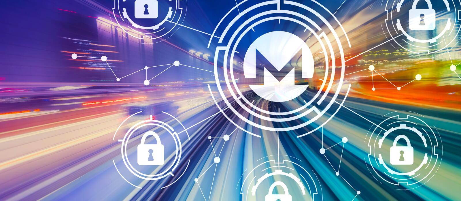Monero cryptocurrency security theme with high speed motion blur stock image