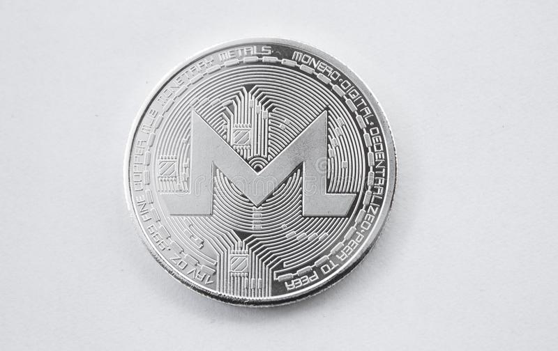 Monero digital de la moneda de plata de la moneda Crypto imágenes de archivo libres de regalías