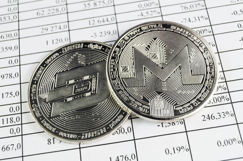 Monero is een moderne manier van uitwisseling en deze crypto munt stock foto