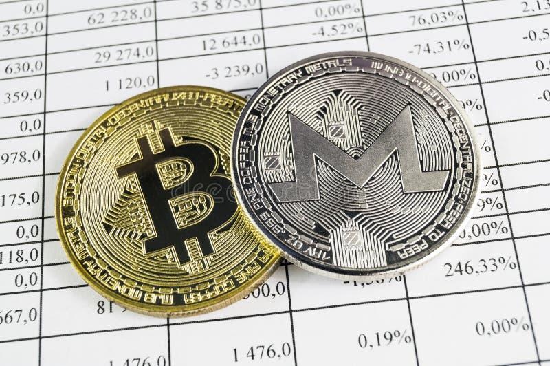 Monero is een moderne manier van uitwisseling en deze crypto munt stock afbeelding