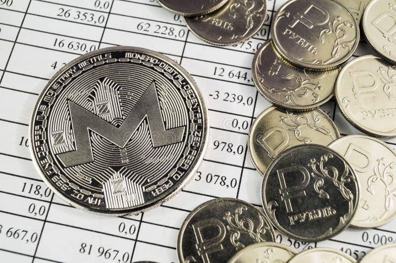 Monero is een moderne manier van uitwisseling en deze crypto munt stock foto's
