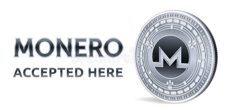 Monero Emblema accettato del segno Valuta cripto Moneta d'argento con il simbolo di Monero isolata su fondo bianco fisico medica  illustrazione vettoriale