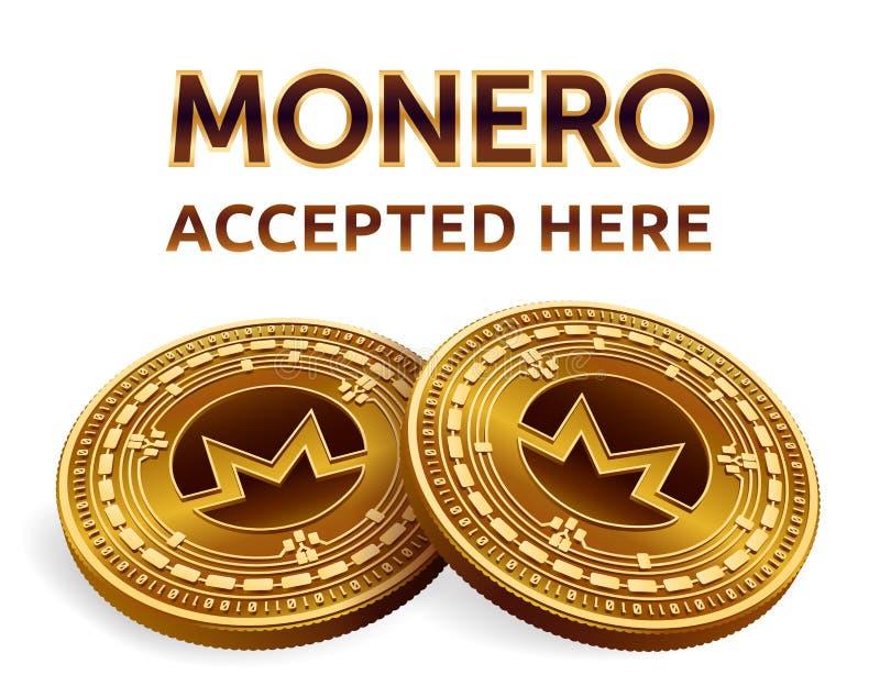 Monero Emblema accettato del segno Valuta cripto Monete dorate con il simbolo di Monero isolate su fondo bianco fisico medica iso illustrazione vettoriale