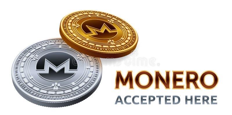Monero Emblema accettato del segno Valuta cripto Monete dorate e d'argento con il simbolo di monero isolate su fondo bianco isome illustrazione vettoriale