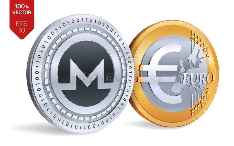 Monero Euro isometrische körperliche Münzen 3D Digital-Währung Cryptocurrency Goldene und Silbermünzen mit Monero und Eurosymbol  stock abbildung