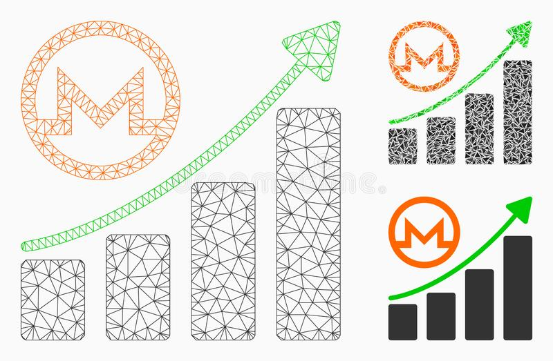 Monero Growing Graph Vector Mesh Carcass Model and Triangle Mosaic Icon. Mesh Monero growing graph model with triangle mosaic icon. Wire carcass triangular stock illustration