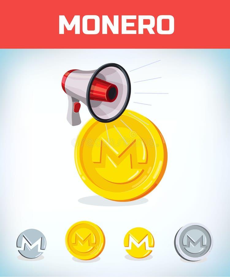 Monero met megafoon Monero Digitale munt Crypto munt Geld en financiënsymbool De mijnwerker beet muntstuk royalty-vrije illustratie