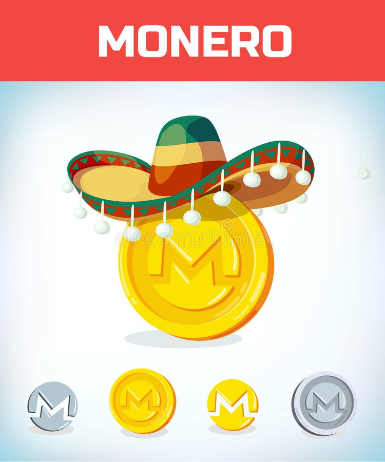 Monero in mexican hat. monero. Digital currency. Crypto currency. Money and finance symbol. Miner bit coin. Criptocurrency. Virtual money concept. Cartoon vector illustration