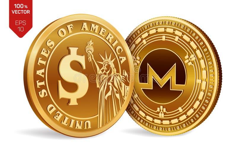 Monero Moneta del dollaro monete fisiche isometriche 3D Valuta di Digital Cryptocurrency Monete dorate con l'iso di simbolo del d royalty illustrazione gratis