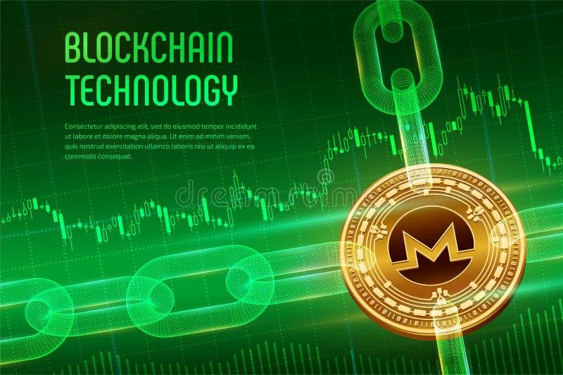 Monero Valuta cripto Catena di blocco moneta dorata fisica isometrica di 3D Monero con la catena del wireframe su fondo finanziar royalty illustrazione gratis