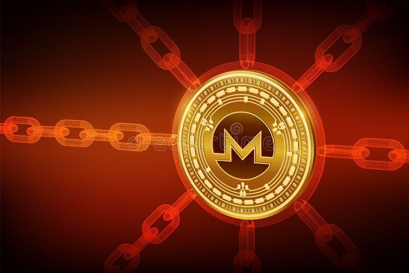Monero Valuta cripto Catena di blocco moneta fisica isometrica di 3D Monero con la catena del wireframe Concetto di Blockchain Cr illustrazione di stock