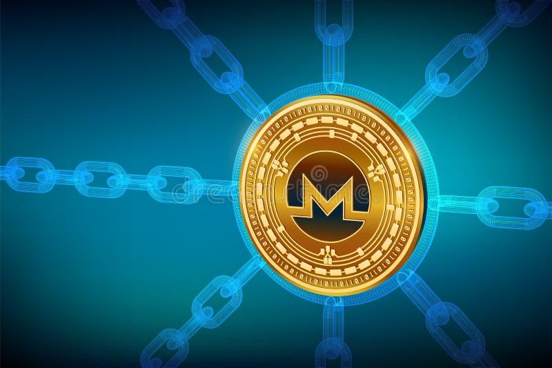 Monero Valuta cripto Catena di blocco moneta fisica isometrica di 3D Monero con la catena del wireframe Concetto di Blockchain ed royalty illustrazione gratis