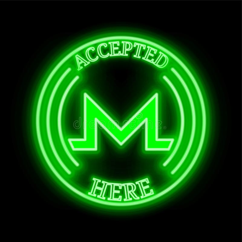 Monero XMR accepted here sign vector illustration