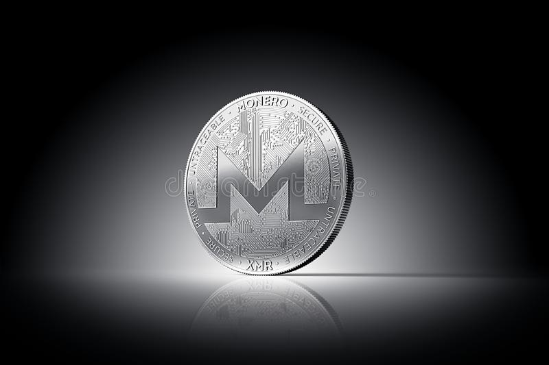 Monero XMR cryptocurrency physical concept coin on gently lit dark background. 3D rendering vector illustration