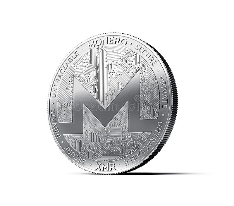 Monero XMR cryptocurrency physical concept coin isolated on white background. 3D rendering vector illustration