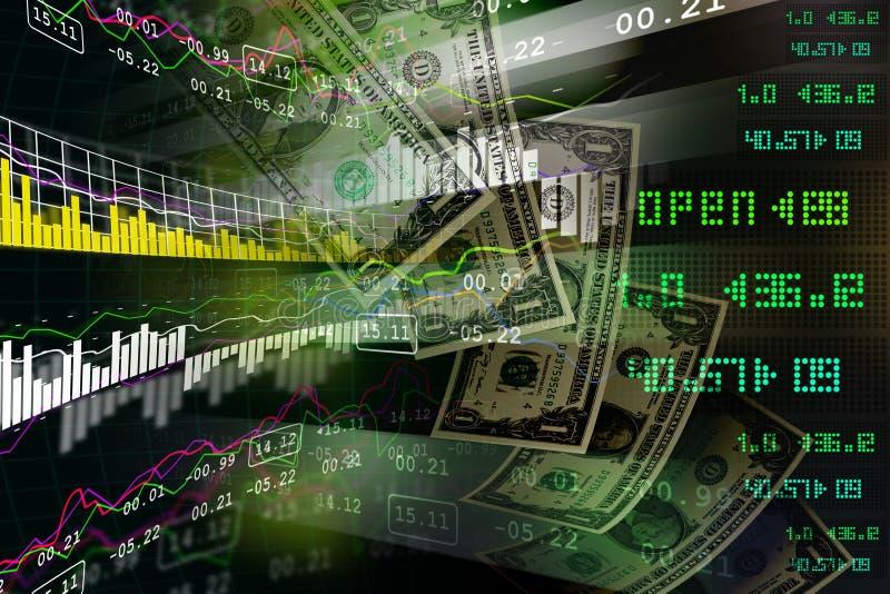 Monetärt begrepp och marknad som analyserar grafen royaltyfri illustrationer