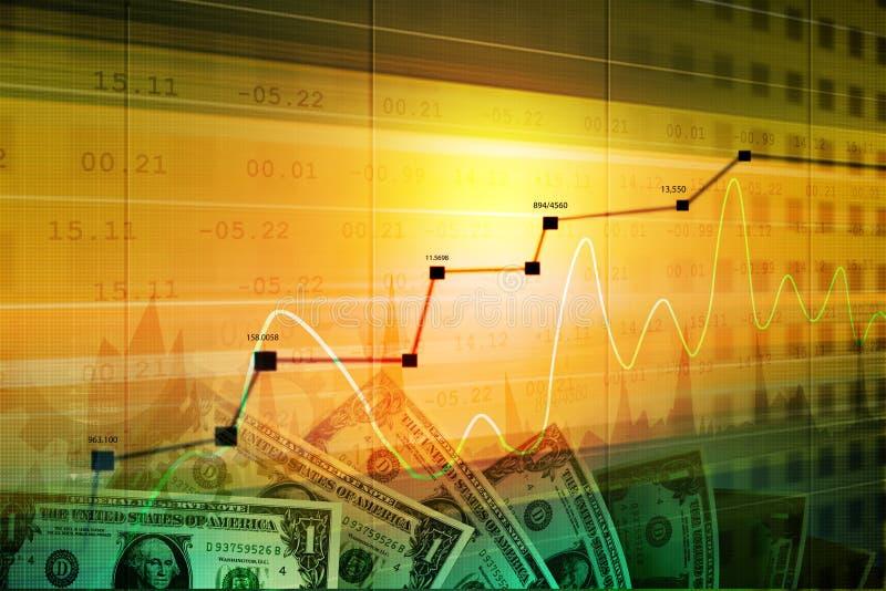 Monetärt begrepp och marknad som analyserar grafen stock illustrationer