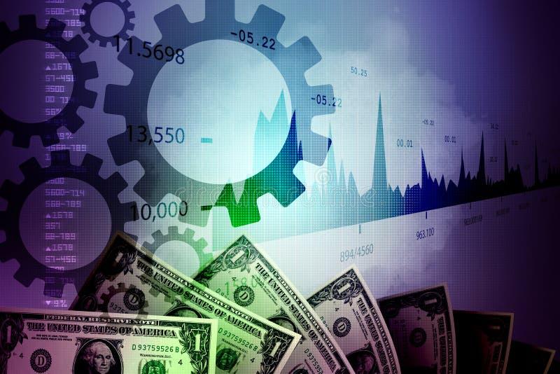 Monetärt begrepp och marknad som analyserar grafen vektor illustrationer