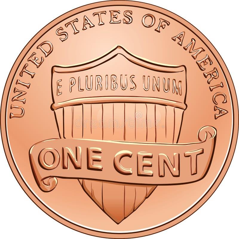 moneta americana di vettore un centesimo, penny royalty illustrazione gratis
