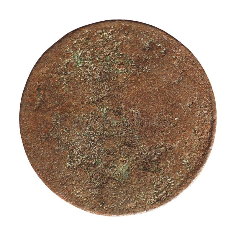 Moneta arrugginita antica isolata sopra bianco immagini stock