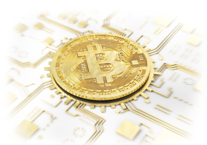 Moneta bitcoin na bielu kolonel ilustracja 3 d ilustracji