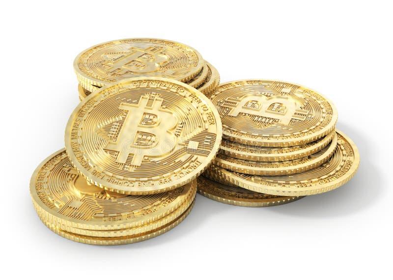 Moneta bitcoin na bielu kolonel ilustracja 3 d ilustracja wektor