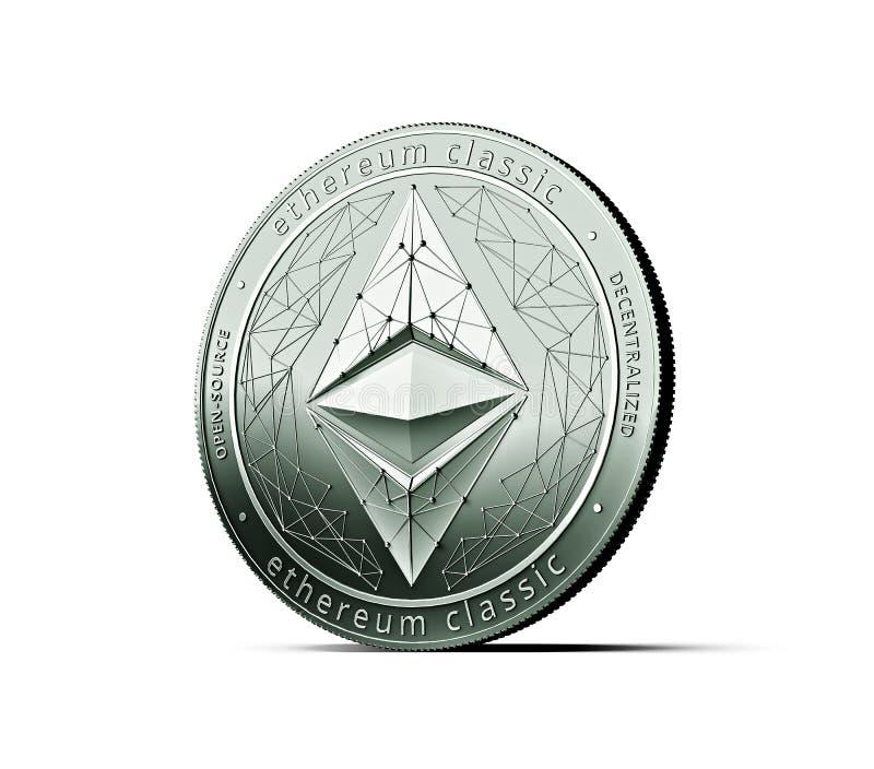 Moneta classica d'argento brillante di concetto di Ethereum isolata su fondo bianco royalty illustrazione gratis
