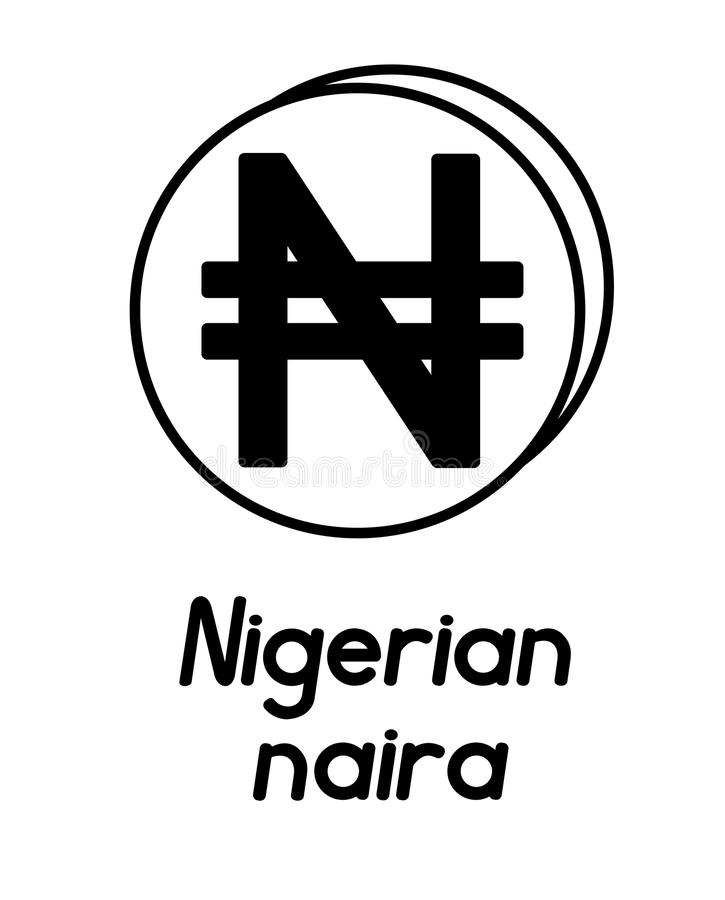 Moneta con il segno nigeriano di naira illustrazione vettoriale