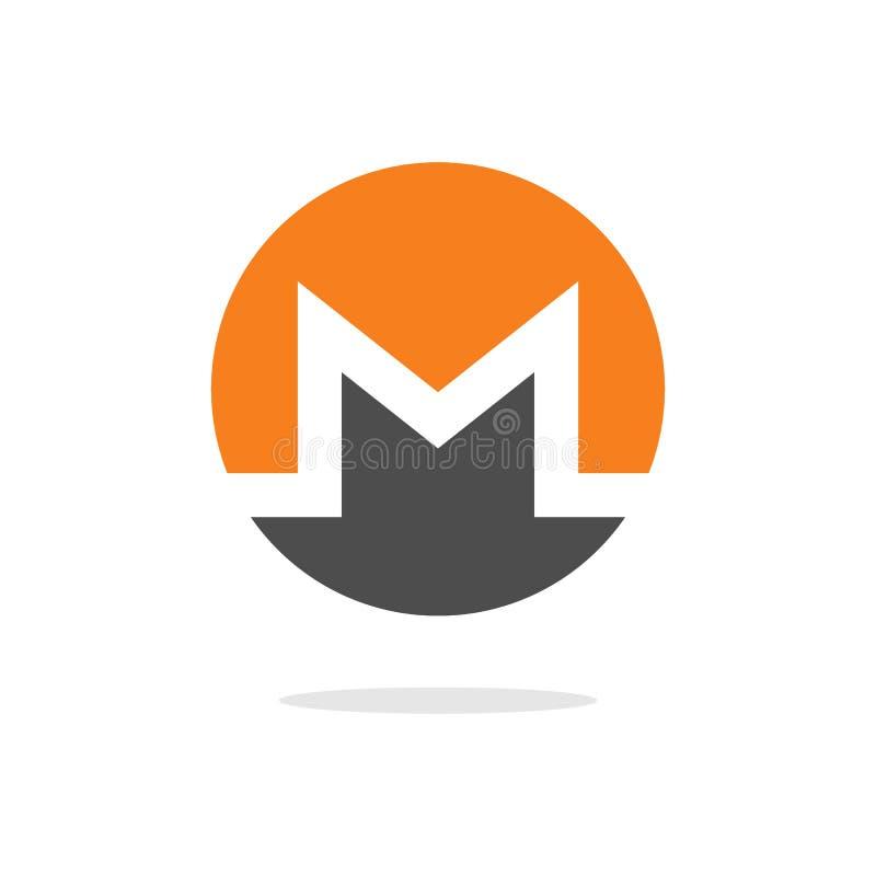 Moneta cripto di valuta di open source di Monero XMR sul vettore, sull'icona, sul segno per la stampa e sul web di tecnologia del royalty illustrazione gratis