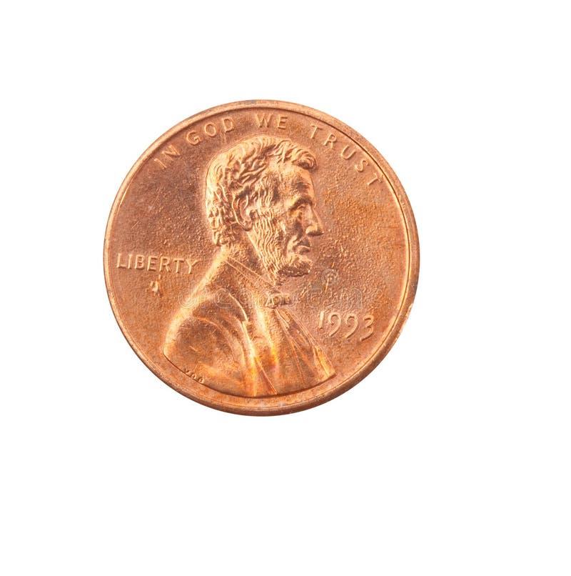 Moneta d'annata del metallo nel fondo bianco fotografia stock libera da diritti