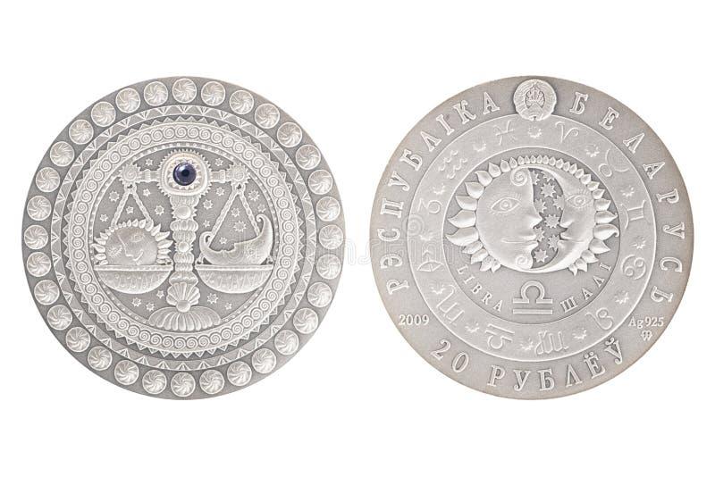 Moneta d'argento della Bielorussia della Bilancia fotografia stock