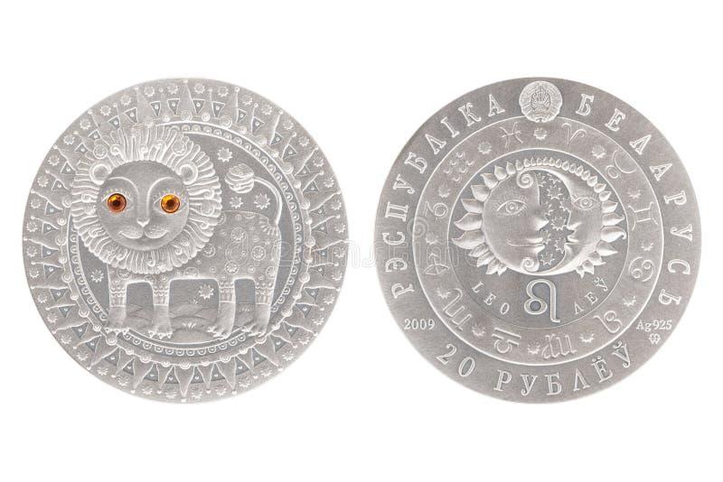 Moneta d'argento di Leo Belarus fotografie stock libere da diritti