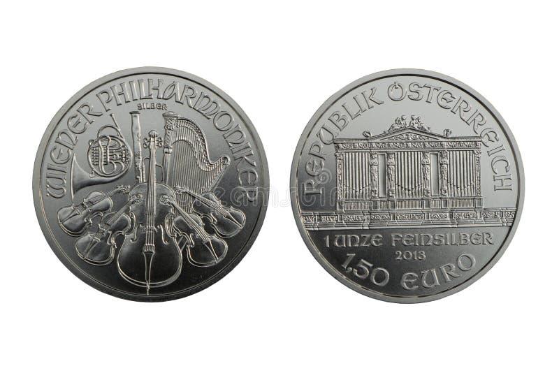 Moneta d'argento Vienna 1oz filarmonico 2013 fotografie stock