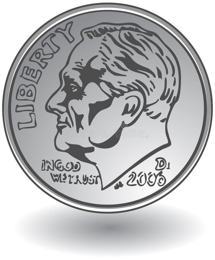 Moneta da dieci centesimi di dollaro royalty illustrazione gratis