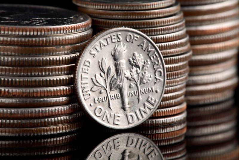 Moneta da dieci centesimi di dollaro capa del Roosevelt immagine stock libera da diritti