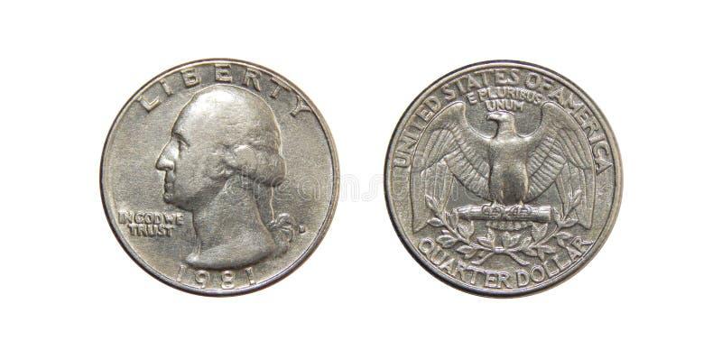Moneta dei dollari quarti dell'America su fondo bianco isolato immagini stock