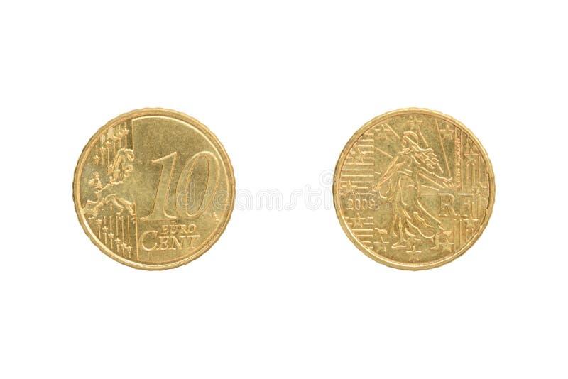 Moneta del centesimo dell'euro dieci fotografie stock libere da diritti