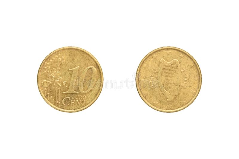 Moneta del centesimo dell'euro dieci fotografia stock