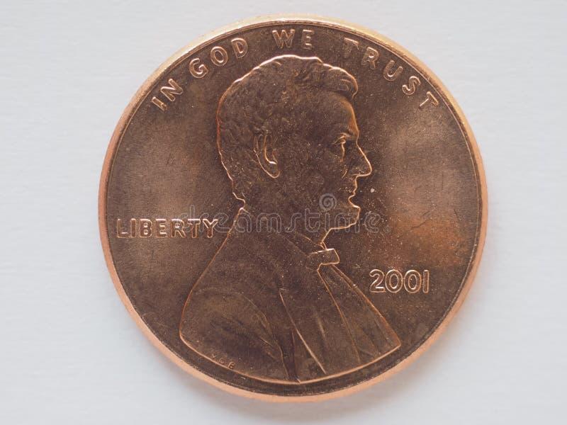 1 moneta del centesimo, Stati Uniti fotografia stock